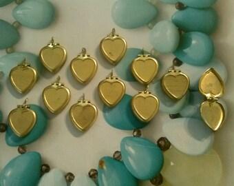 12 Brass Heart Lockets