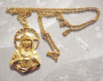 """1 Goldplated Mother Mary Medallion on a 24"""" Goldplated Chain"""
