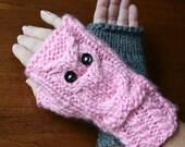 Owl Wrist Warmers, fingerless gloves, mittens