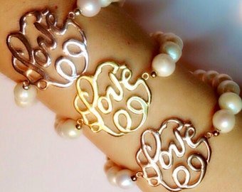 Love monogram with 14mm pearls