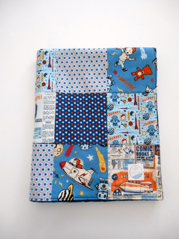 Minky baby boy patchwork quilt blanket riley blake rocket age for Space minky fabric