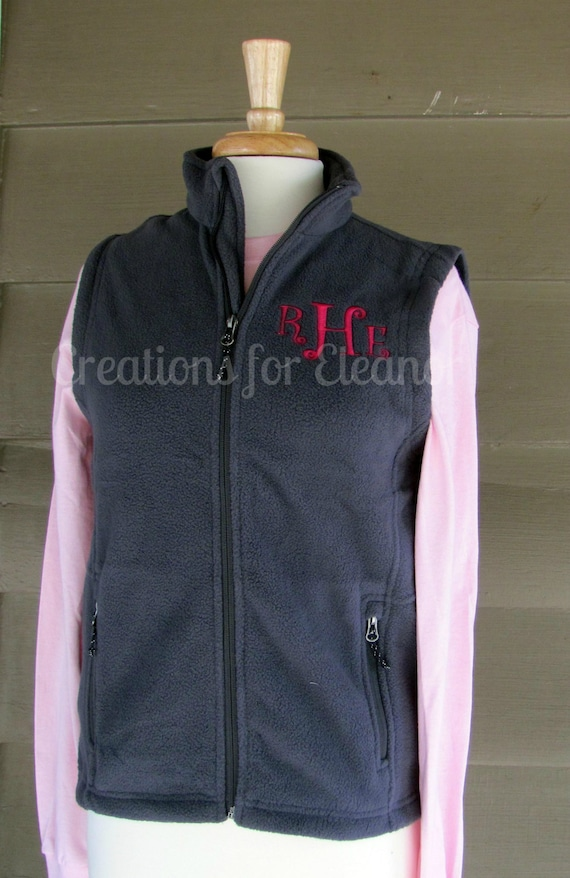 Girls Monogrammed Vest, Children's Personalized Fleece Vest, Custom Vest, Monogrammed Fleece Vest