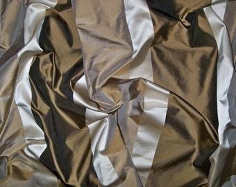 KOPLAVITCH BEAUVILLE SILK Taffeta Satin Stripes Fabric Remnant Brown Cream