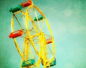 Such Great Heights - 8x8 fair carnival photography print square photo baby room nursery home decor unisex fun whimsical ride yellow green