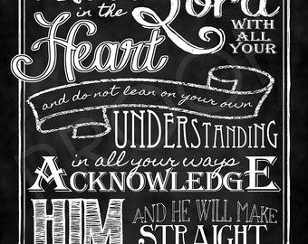 Scripture Art - Proverbs 3:5-6 Chalkboard Print