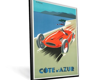 Vintage Travel Poster Cote d'Azur on 8x12 PopMount Ready to Hang FREE SHIPPING
