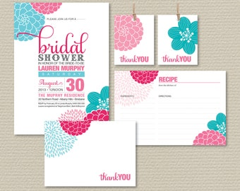 Printable Bridal Shower Invitation Party Pack - Pretty Modern Flower Design in Pink & Aqua (PP32)