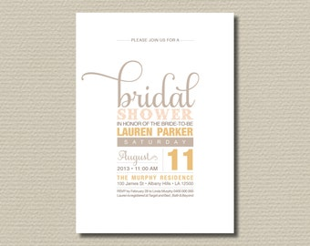 Printable Bridal Shower Invitation - Soft Sweet Neutral Tones (BR120)
