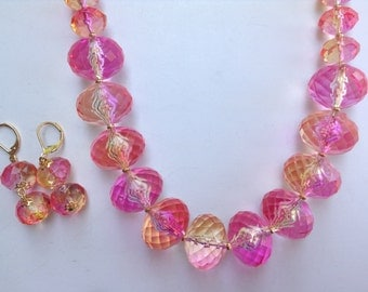 Chunky Statement Necklace-Chunky Pink & Orange Necklace--Statement Necklace-Ombre Necklace-One of a Kind-Hand Made-Designs by Stalinda