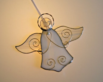 White Angel Suncatcher Ornament Stained Glass Angel First Communion Gift Wedding Gift Christmas Ornament