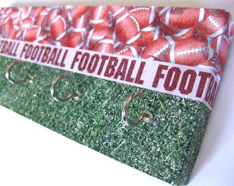 "Football Key Rack Hat Rack Sports Rack Football Gift for Him, Masculine Key Rack Man Cave Decor Den Decoration Superbowl Sunday ""Football"""