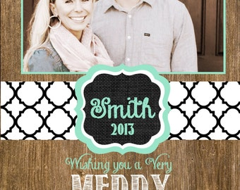 Custom Wood and Lattice Photo Christmas Cards