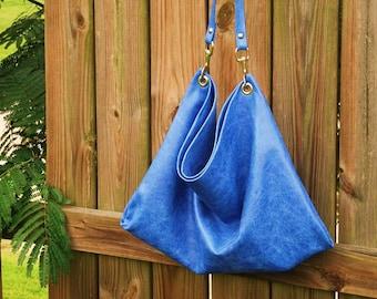 Royal Blue Distressed Leather Hobo Bag