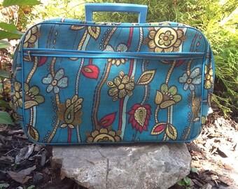 Vintage Floral Blue Carry On Bag Suitcase 1960's Overnight Bag