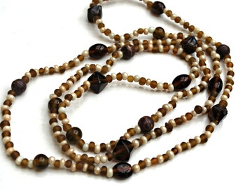 Boho Bead  Necklace - Root Beer Brown and White  Glass Bead  -