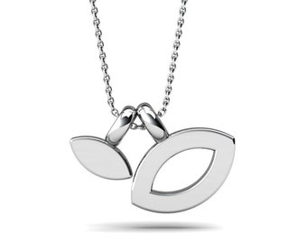 Flat Marquis shape Pendant, Sterling Silver Necklace, Unbalanced Tiny And cute silver Pendant, Handmade by Gwen Park Jewellery Designs