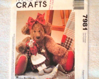 UNCUT McCall's Sewing Pattern 7981...Gracie Bear & Her Doll
