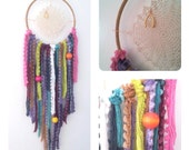 Dream Catcher with Vintage Crochet Doily, Gold Wishbone Charm and Wooden Neon Beads