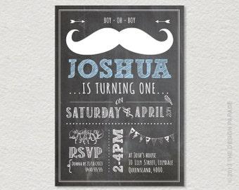 PRINTABLE Chalkboard Tash / Moustache Party Invitation. Retro, vintage inspired. Tash Party.