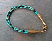 Triple Strand Nacorazi Turquoise Heishi Bracelet with GoldCones & Black Onyx, Blue Green, Handcrafted