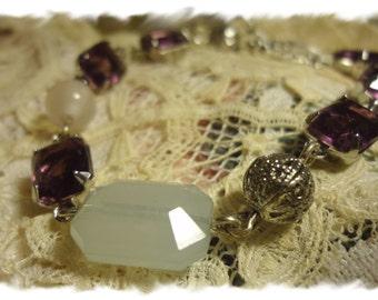 Amethyst Assemblage Bracelet, Amethyst Rhinestone Bracelet, Victorian Bracelet, Shabby Chic Bracelet, Violet Bracelet, Bertha Louise Designs