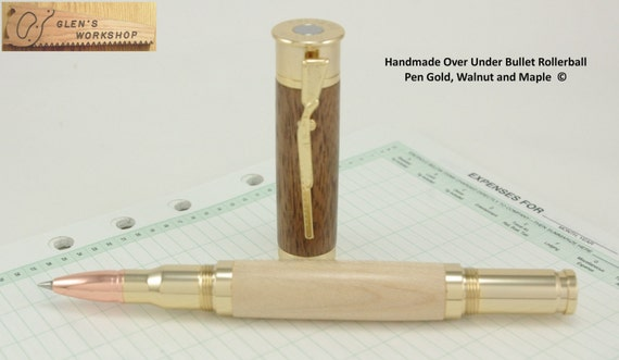 Over Under Bullet Pen Handcrafted in Gold, Walnut & Maple