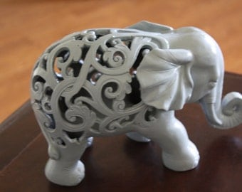 PICK YOUR COLOR Light Gray Ornate Elephant Figurine / Home Decor / Animal Decor