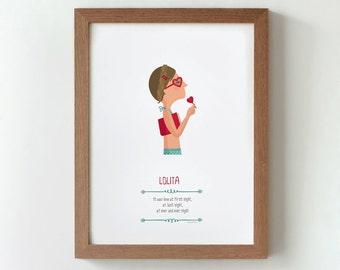 Illustration. Lolita. Nabokov. Stanley Kubrick.  Print. Wall art. Art decor. Hanging wall. Printed art. Decor home. Gift idea. Sweet home.