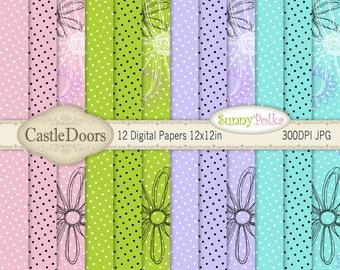 Digital Paper - scrapbooking, sunflower, polka dot, lavender, pink, lime green, teal, aqua,