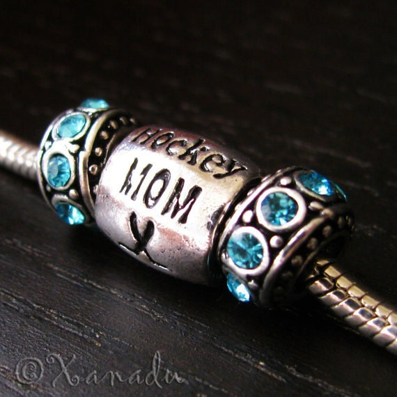 Hockey Mom Bead And Birthstone Crystal Spacers - For All All European Charm Bracelets - Gift Idea For Mom