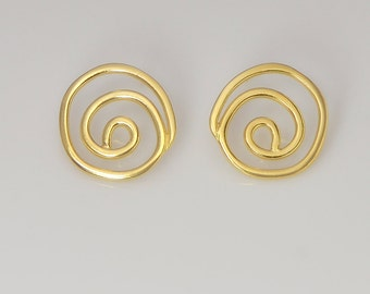 Spirals-Gold earrings   Spiral   post earring stud earrings