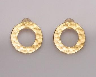 Circle- Gold Earrings Hammered Earrings Hammered Earrings Hammered Circle stud earrings Post Earrings Jewelry Handmade