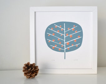 Berry Tree Print in Grey & Metallic Copper - Hand Printed Limited Edition of 100 - Mid Century Tree Design