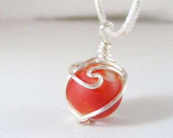Red Sea Glass Marble With Custom Hand Wrapped Cage