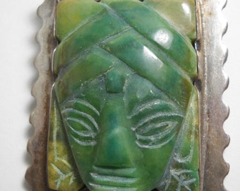 Taxco Pre Eagle and Spratling Sterling Silver Hand Made Mexican Jade pin brooch