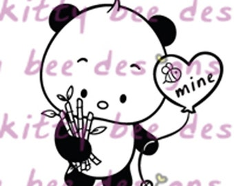 New Release - Panda Balloon and Bouquet Valentine Digital Stamp
