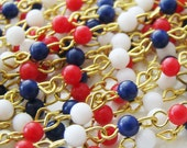 Vintage Red White & Blue 4mm Glass Beaded Rosary Brass Links Chain – 1 ft