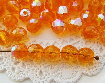AB Orange Hyacinth 8mm Round Beads Czech Glass Faceted - 20