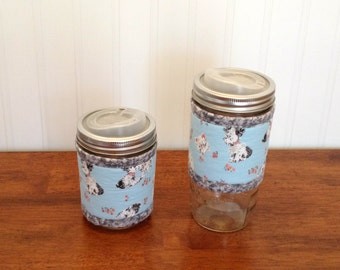 READY TO SHIP Mason jar cuff, Puppy and kitten print wide mouth jar cozy sleeve