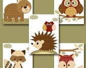 Fox Nursery Owl Nursery Baby Boy Nursery Art Nursery wall art baby nursery kids room decor Kids Art Boy Print set of 5 11x14 red brown bear