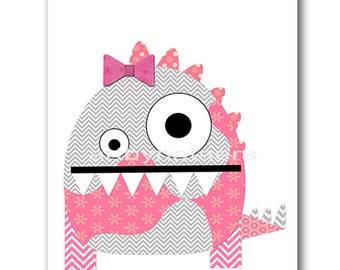 Monster Nursery Baby Girl Nursery Decor Baby Nursery Print Children Art Print Nursery Print Girl Art 8x10 Rose Nursery Pink Gray Monster