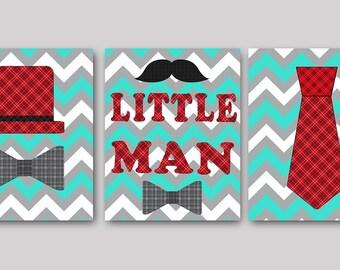 Little Man Baby Boy Nursery Art Print Childrens Wall Art Baby Room Decor Kids Art Kids Print set of 3 Little Man Red Aqua Gray Baby Art