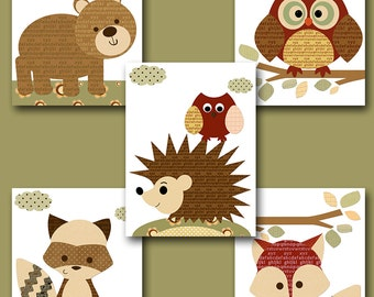 Fox Nursery Owl Nursery Baby Boy Nursery Art Nursery Wall Art Baby Nursery Kids Room Decor Kids Art Boy Print set of 5 Bear Brown Red