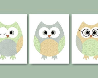 Neutral Nursery Print Owl Decor Owl Nursery Baby Nursery Decor Baby Nursery Print Kids Wall Art Kids Art Baby Room Decor set of 3 Gray /