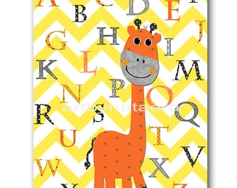Kids Wall Art Giraffe Nursery Alphabet Baby Nursery Decor Baby Girl Nursery Kids Art Baby Room Decor Alphabet Nursery Print Orange Gray