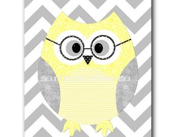 Owl Decor Owl Nursery Kids Wall Art Baby Boy Nursery Decor Baby Nursery Print Children Art Print Nursery Print Boy Art Yellow Gray