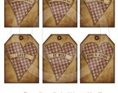Primitive Grungy Gingham Hearts Valentine Love Hang Tags 14101 Printable Digital JPEG File Instant Download Dolls Bears Gifts Scrapbooking