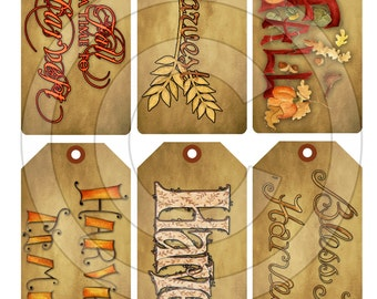Primitive Harvest Autumn Fall Word Art Hang Tags 13124 Printable Digital JPEG File Instant Download Uses Dolls Bears Gifts Scrapbooking