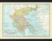 Vintage Map of Greece From 1935 Original
