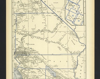 Vintage Map California Southern part From 1930 Original